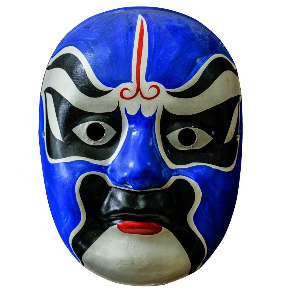 Blue Chinese opera mask isolated on white background