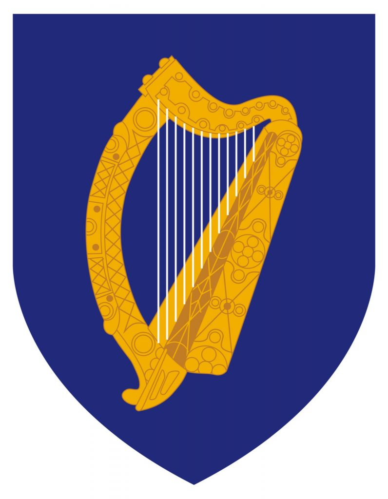 Coat of arms of Ireland. Golden harp with silver strings on blue background