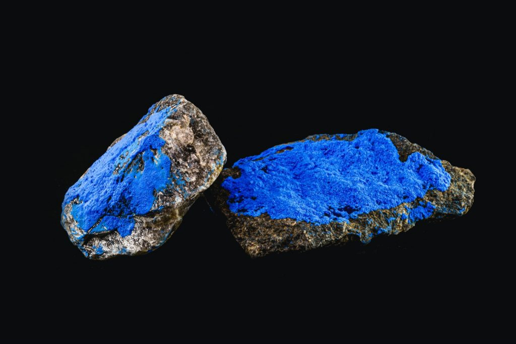 Cobalt element in enameled mineral used to create blue pigment