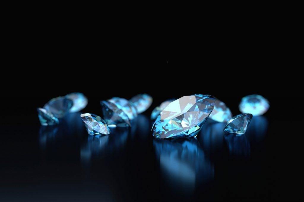 Blue diamonds on a black background