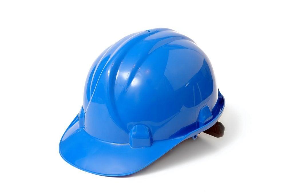 Blue hard hat isolated on white background