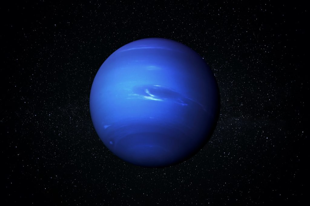 The blue planet Neptune in a starry sky of the solar system in space
