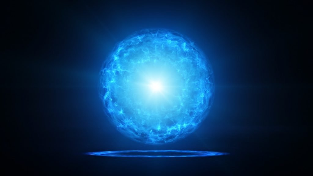 Blue color plasma orb with energy charges