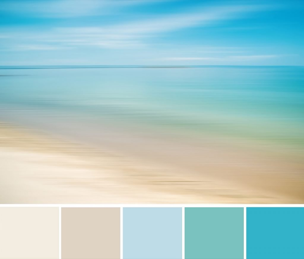 Blue sky, turquoise water and beige sand color palette inspired by beach on bright summer day in nature