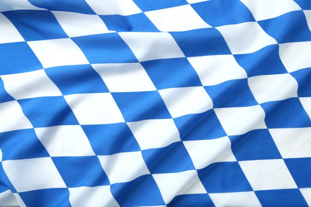 Blue and white colored flag of Bavaria