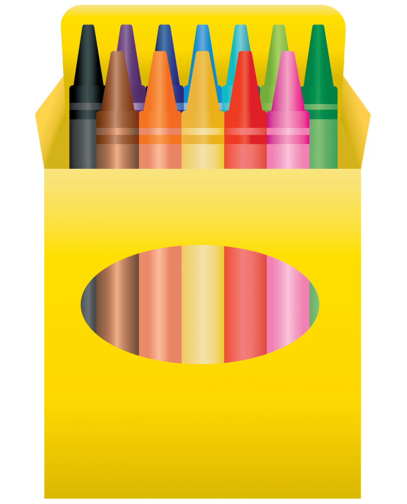 Yellow box of colored crayons
