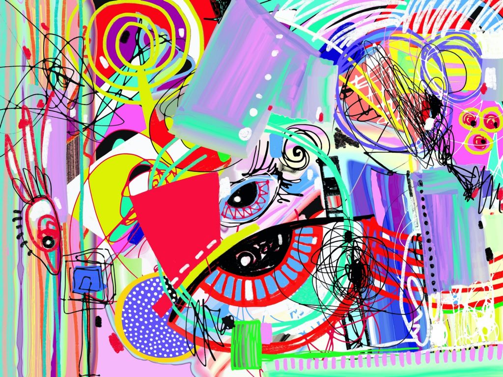 Contemporary art in bright colorful abstract digital painting