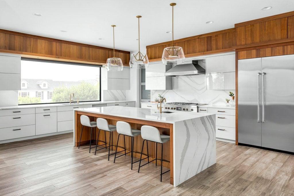 Bright modern kitchen with stainless steel appliances