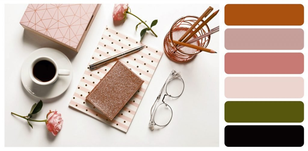 Brown and pink color palette