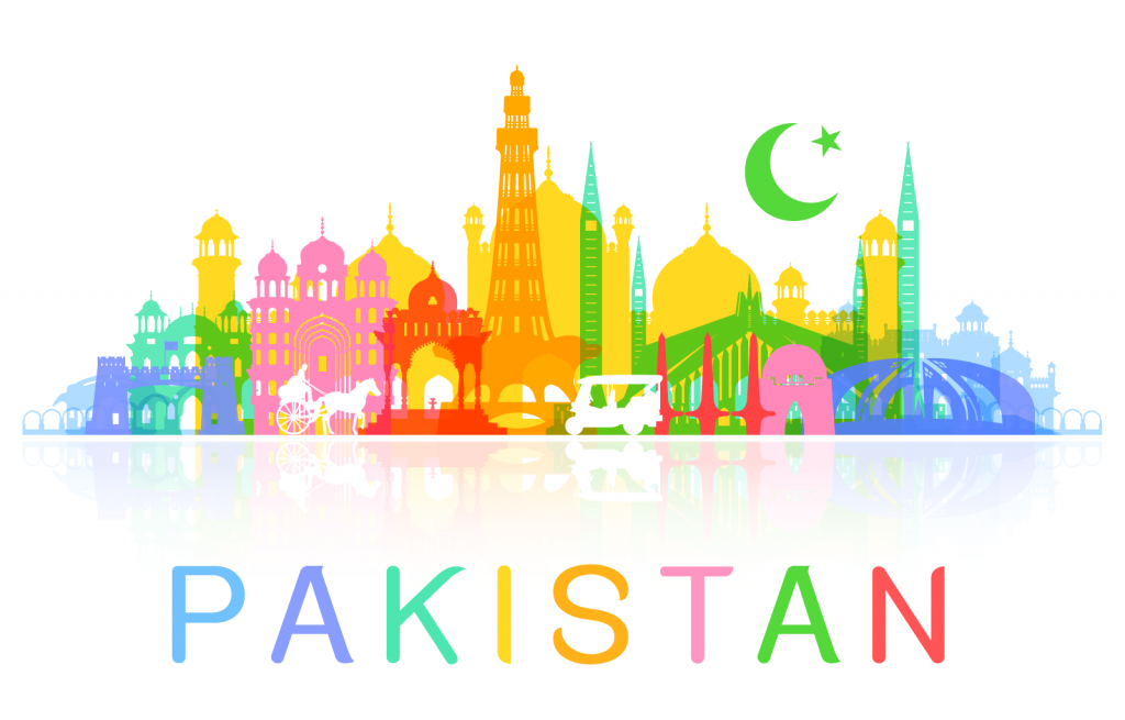 Illustration of the buildings and colors of Pakistan