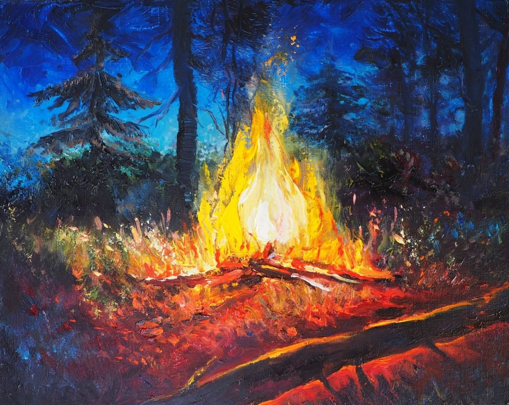 Campfire Original Oil Painting on Canvas, Forest Landscape In the Night, Hot Bonfire