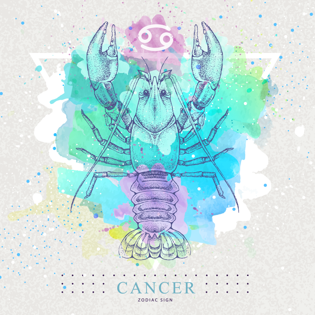 Cancer zodiac sign with colorful lobster