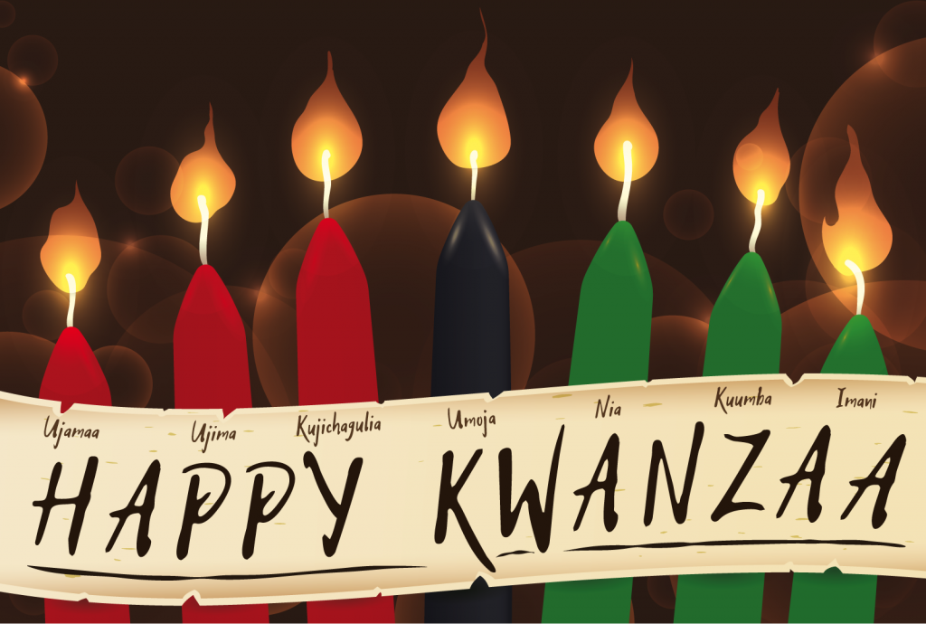 Illustration of the candle colors of Kwanzaa with a scroll that has the names of the seven principles