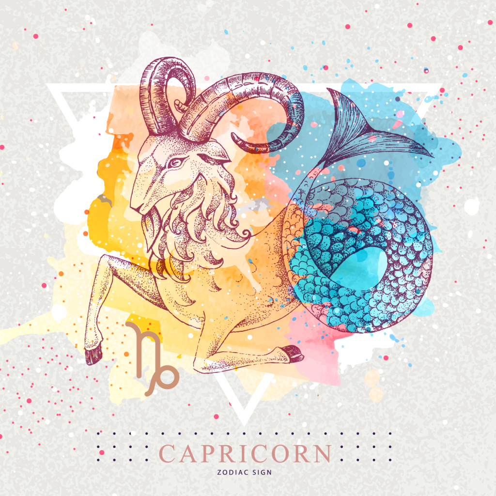Capricorn zodiac sign with colorful goat with fish tail