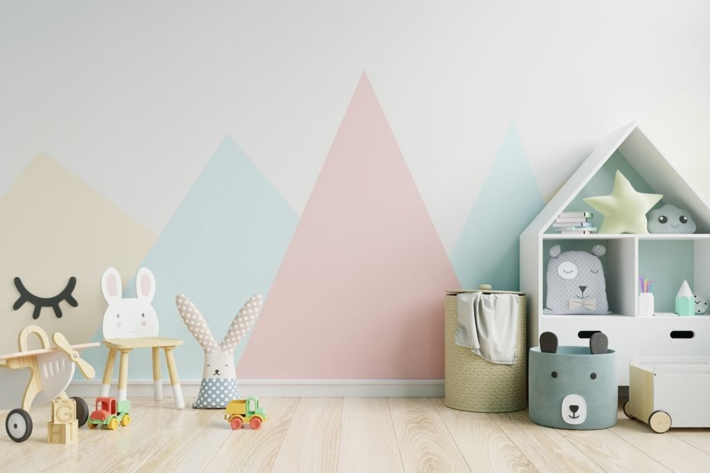 Children's room with pastel colors on the wall