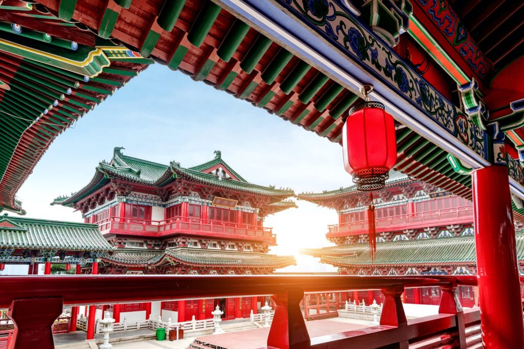 Traditional ancient Chinese architecture in red colors