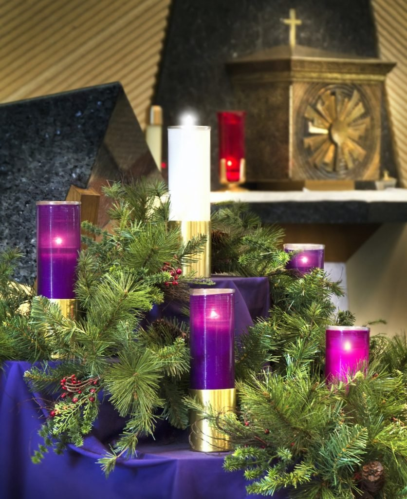 Large Christmas Advent wreath on display in church