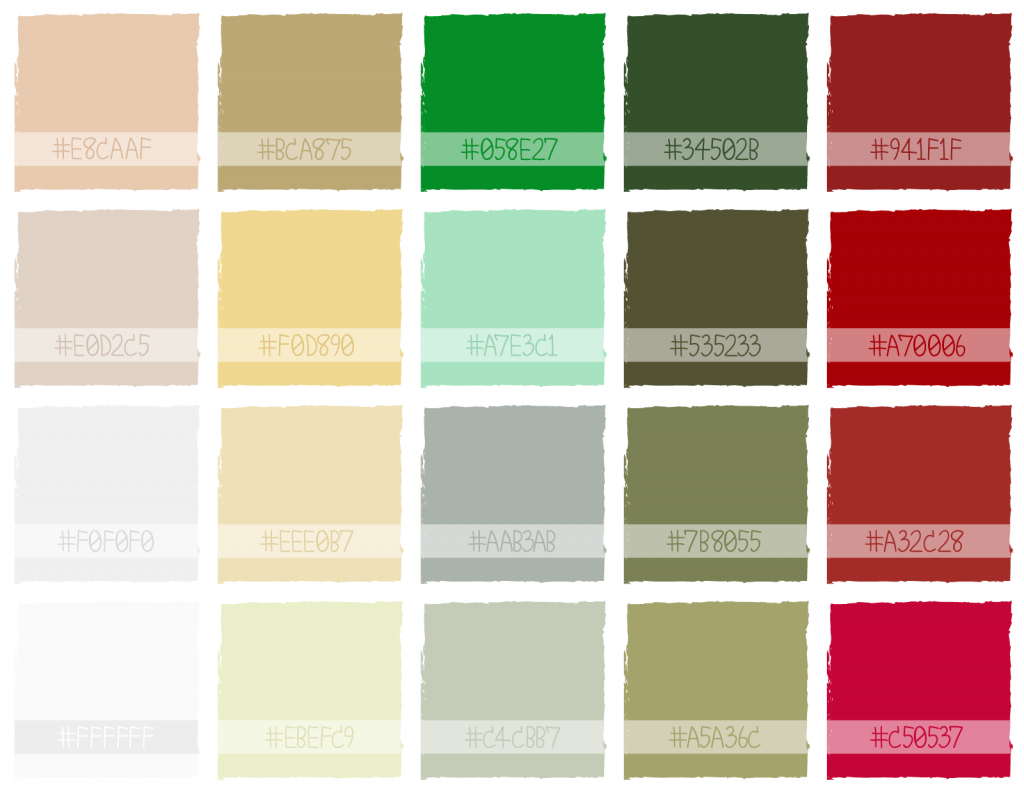 Illustration of classic Christmas color palette with hex codes