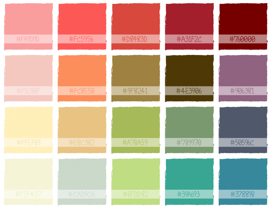 Illustration of colorful Christmas color palette with hex codes