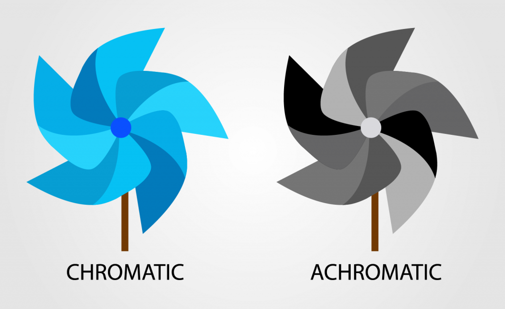 Illustration of toy windmills in chromatic and achromatic colors