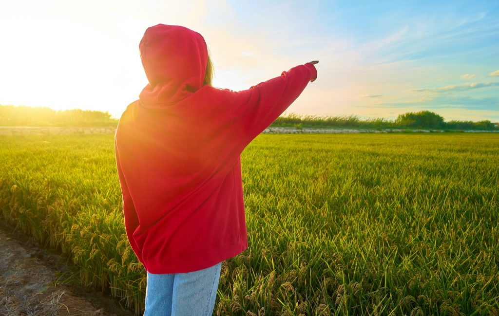 Photograph using chromatic colors with girl in red jacket pointing in front of field at sunset time