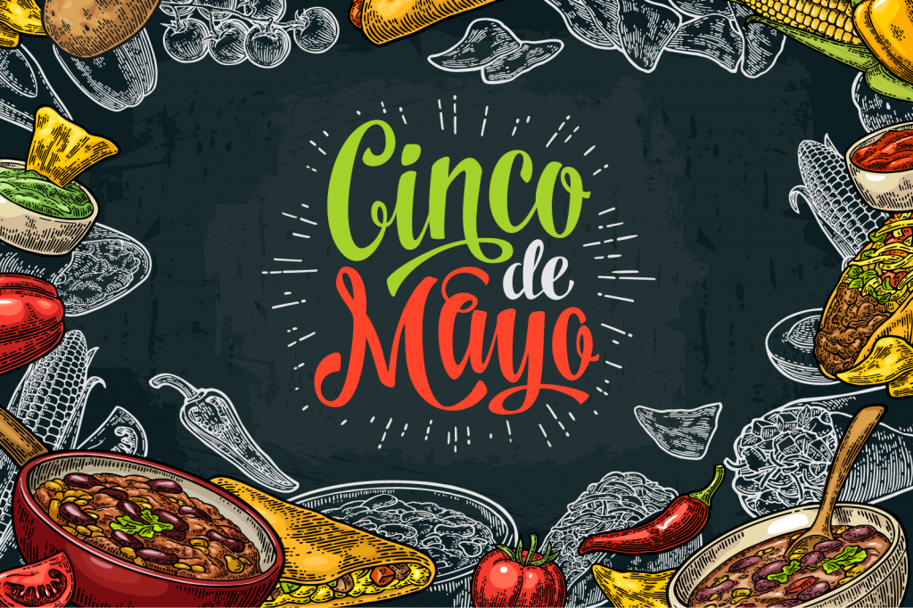 Cinco de Mayo text in green, white, and red colors with traditional Mexican food around it