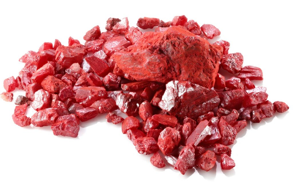 Cinnabar used to create the color pigment Vermilion isolated on white background