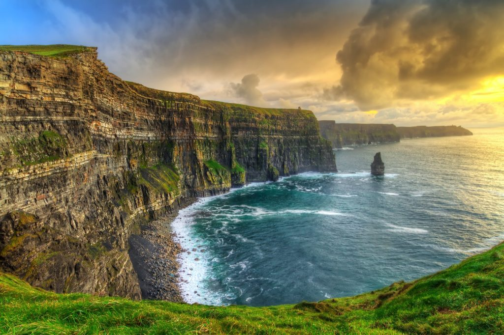 Photograph of Cliffs of Moher at sunset in County Clare, Ireland