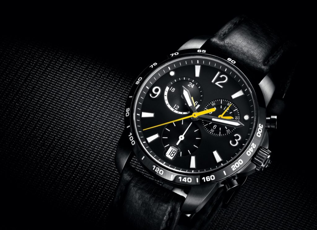 Close-up of black men's wrist watch