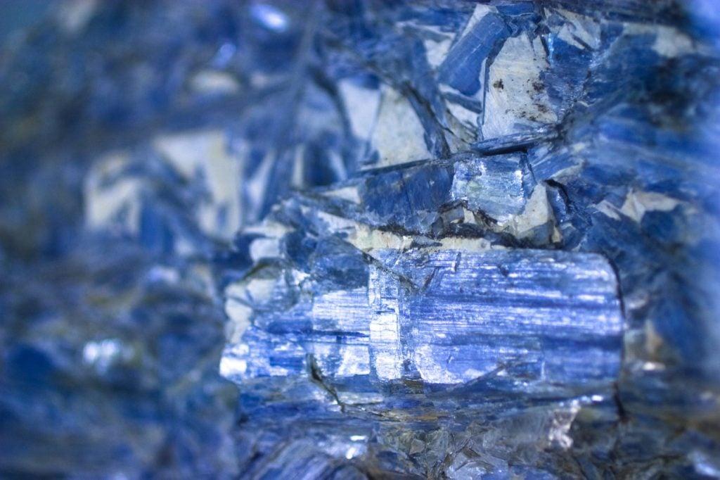 Close-up of blue kyanite minerals
