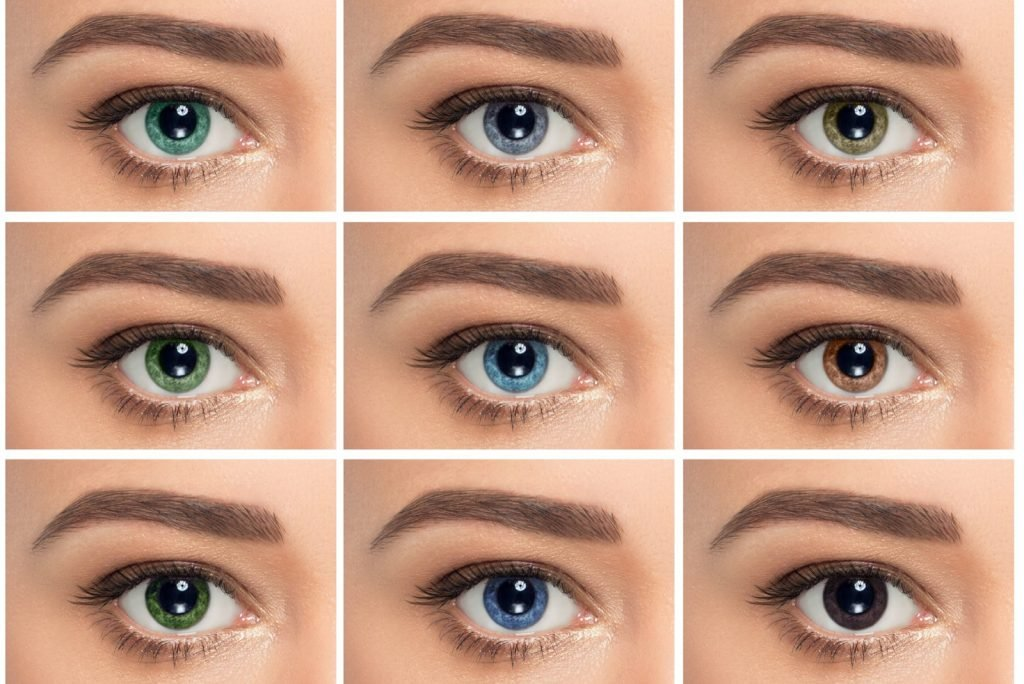 Close-up collage of human eyes in different colors: green, gray, blue, and brown
