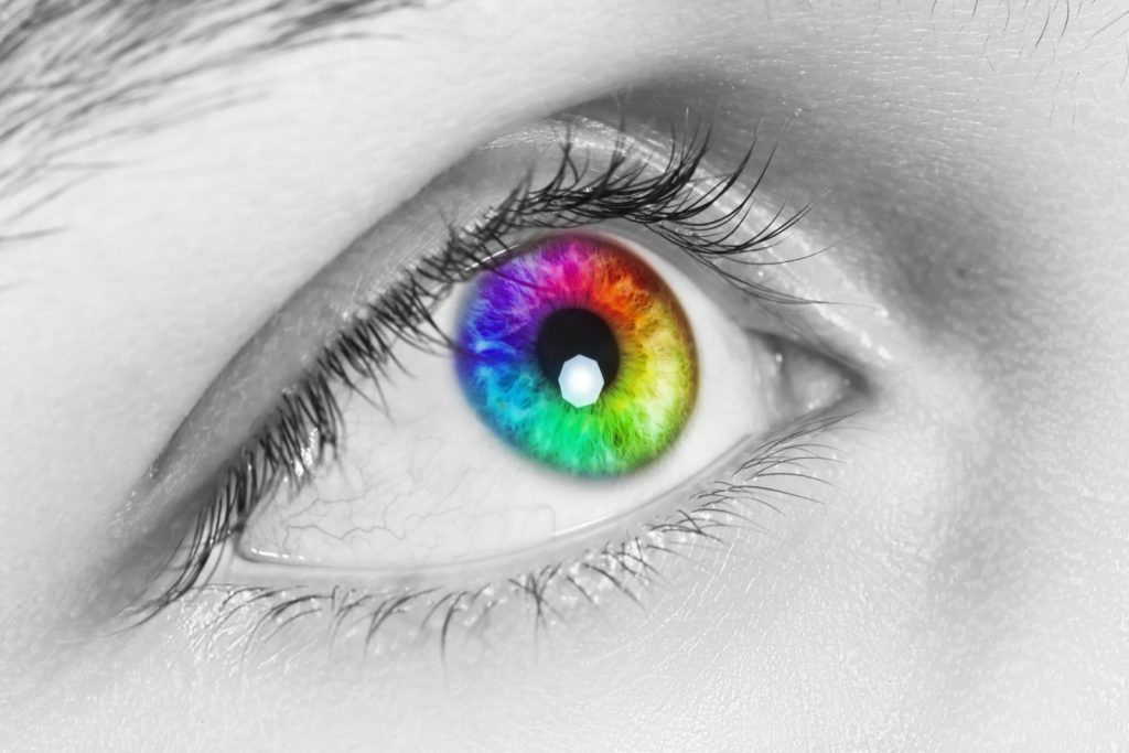 Close-up of colorful human eye