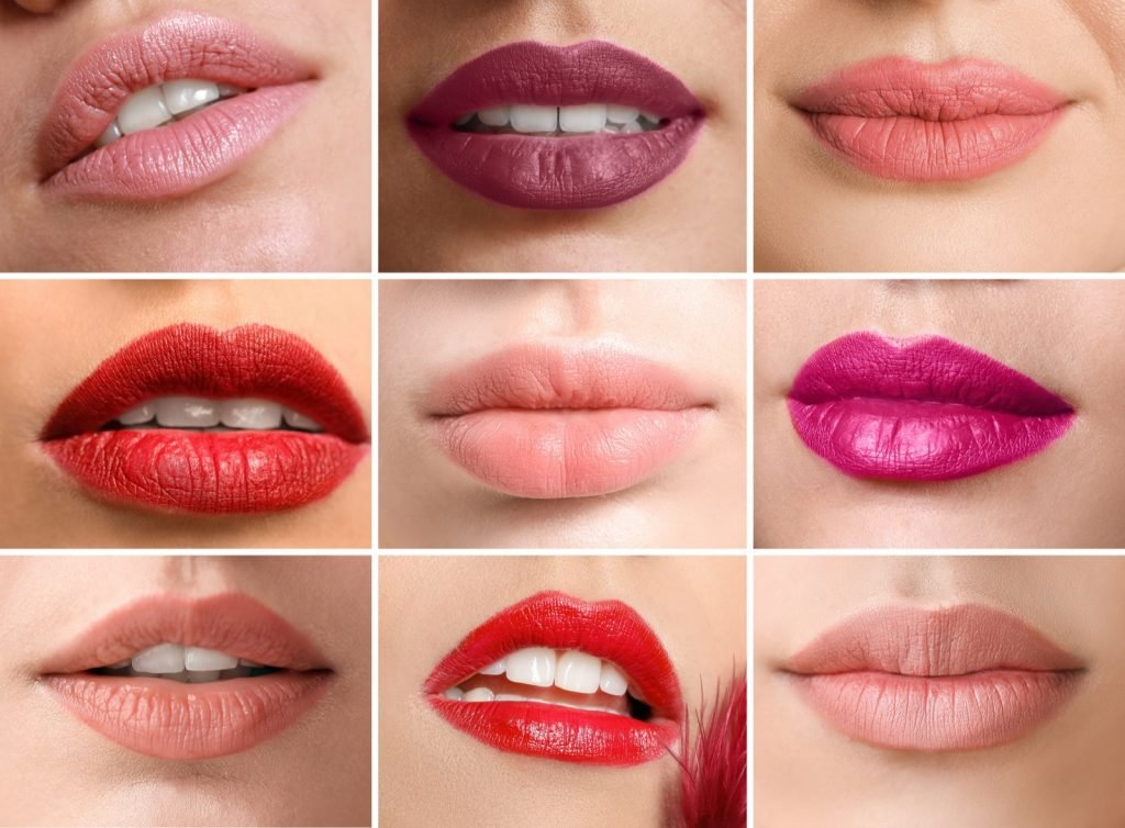 Closeup of women with different lipstick colors