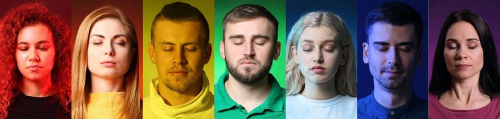 Collage of people with different spiritual colors of their auras
