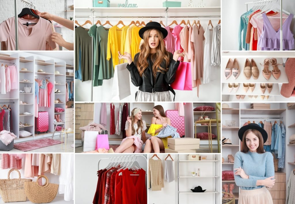 Collage of photos with women and stylish colored clothes in wardrobe