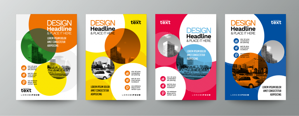 Collection of flyers using repetition to unify the designs