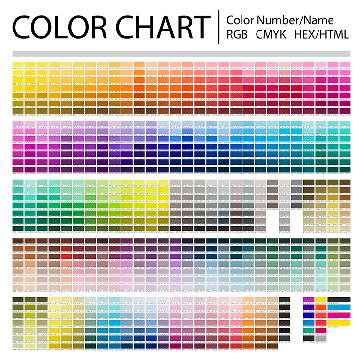Color chart with overview of many different colors and their Hex/HTML, RGB and CMYK codes