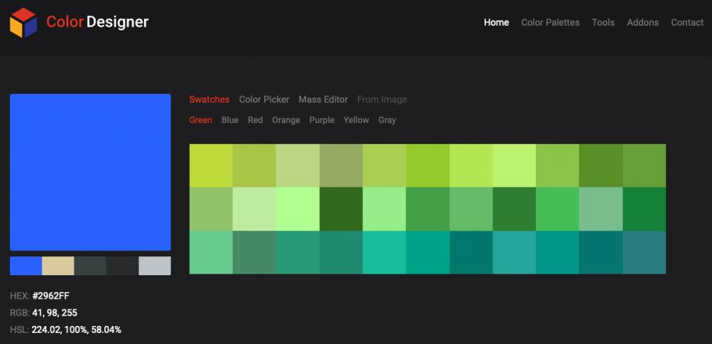 Screenshot of Color Designer palette generator