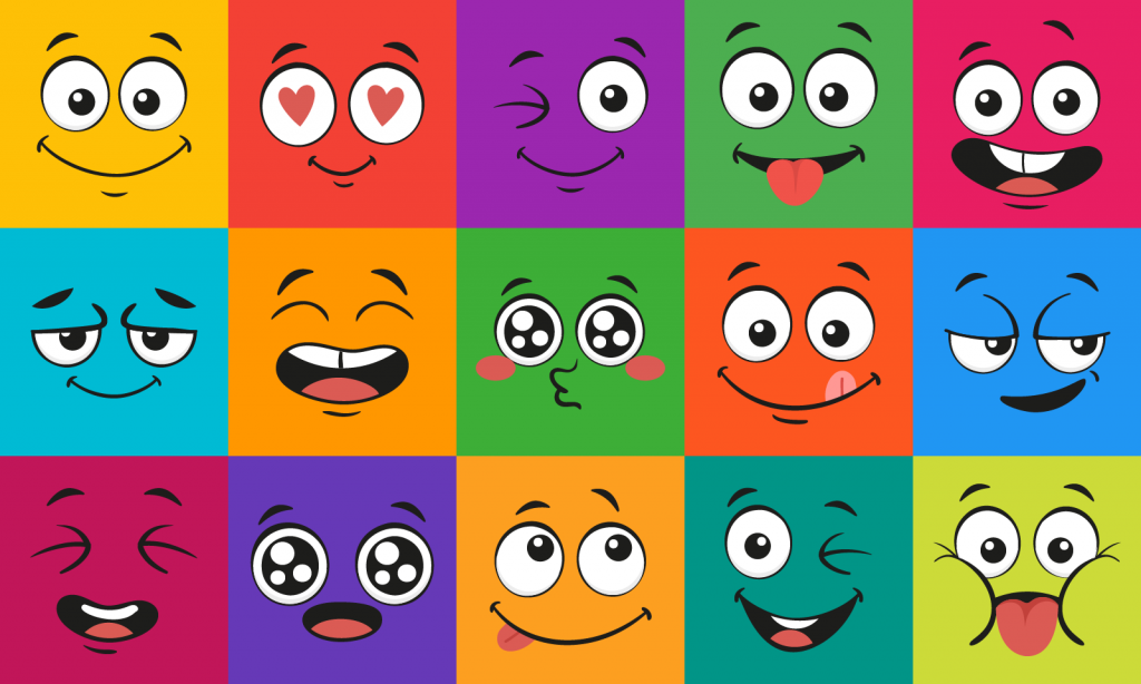 Cartoon face expressions illustration different color emotions