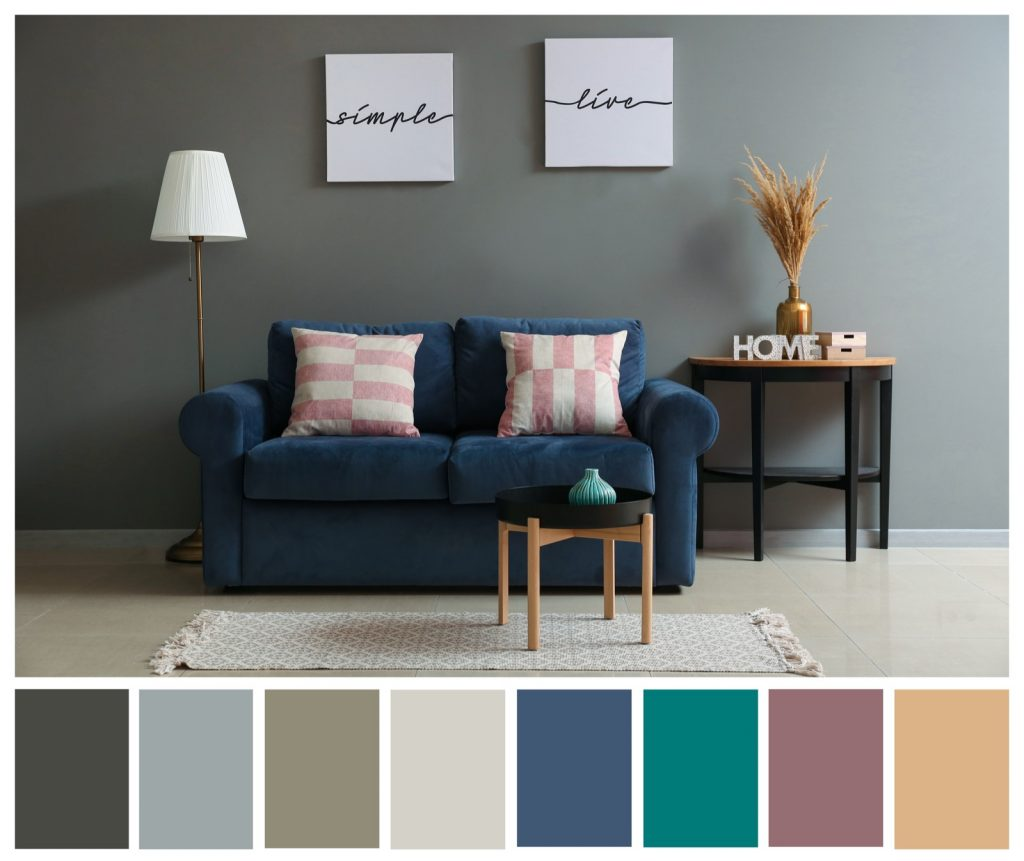 Color palette generated from photo of modern living room interior with a comfortable sofa and accessories