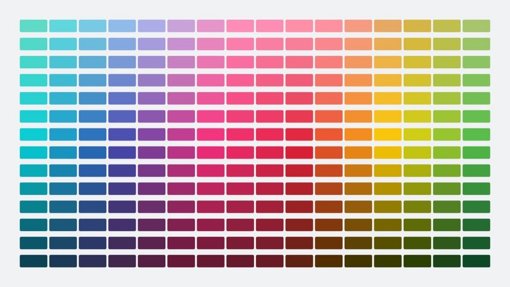 Color palette table with many different shades of colors