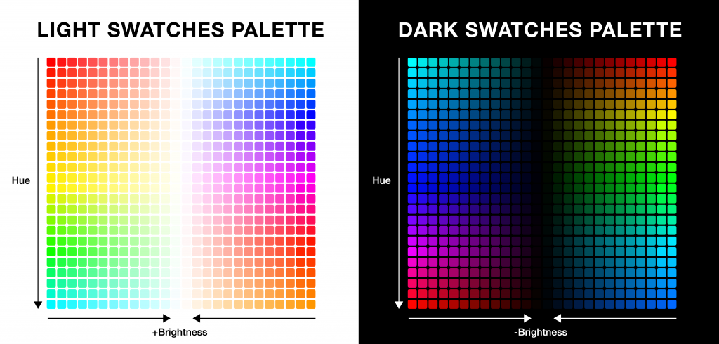 Color palettes with light and dark shades