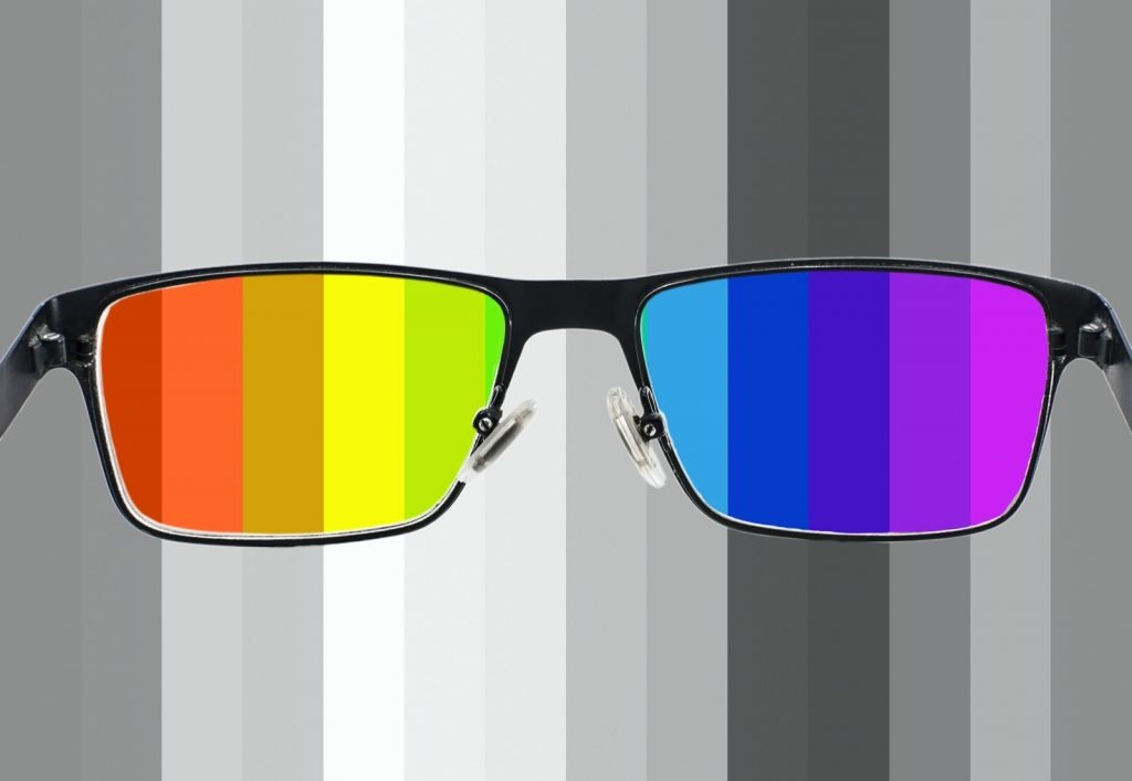Glasses with colors inside and gray stripes around illustrating color perception