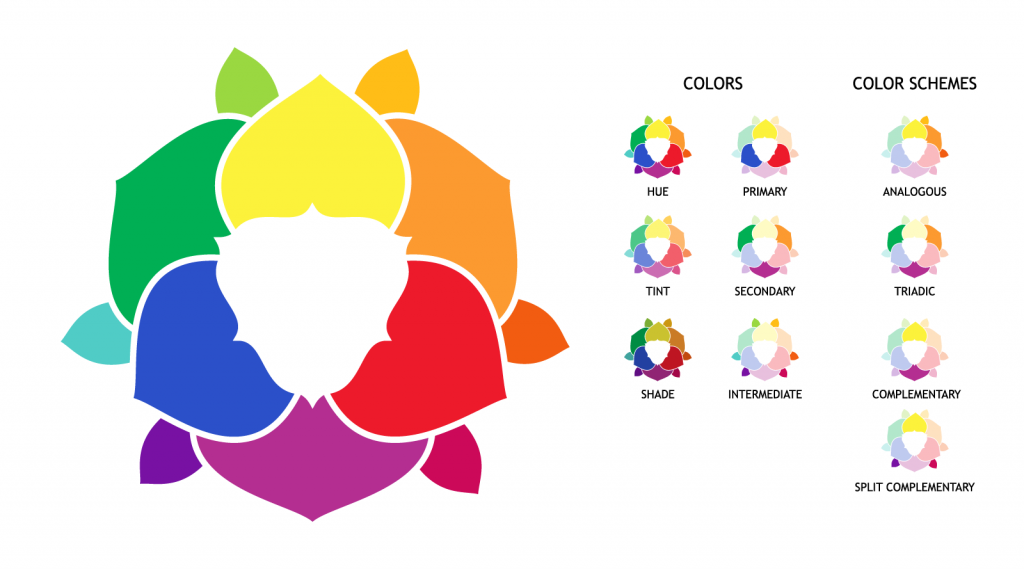 Color wheel with hue, tint, shades variations and primary, secondary and supplementary colors and schemes