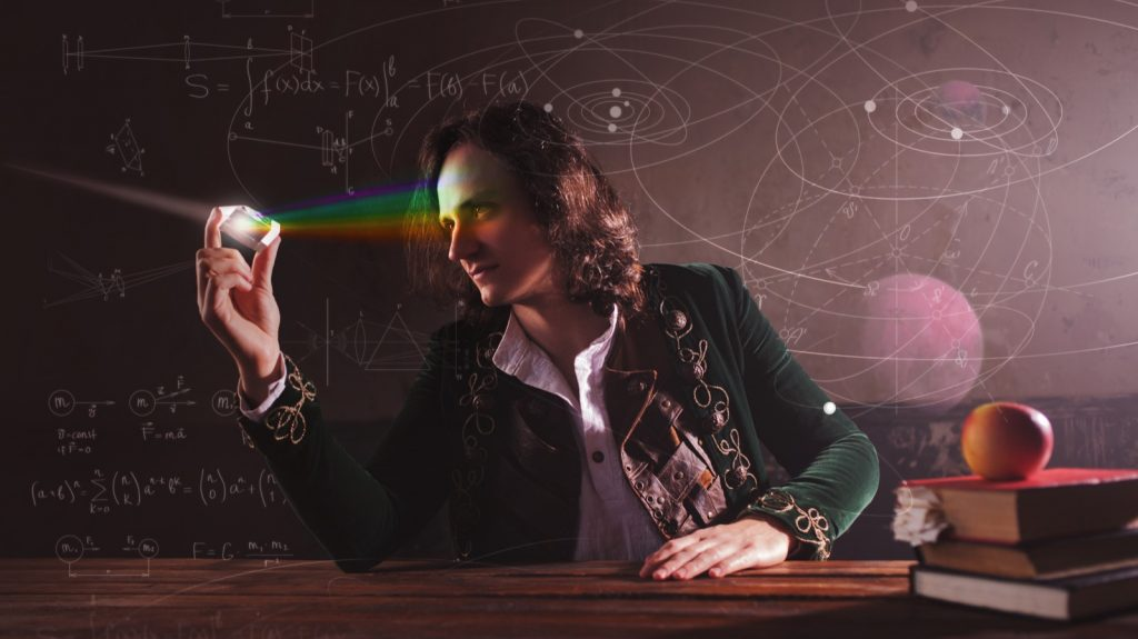 Science of light with man resembling Isaac Newton holding a prism reflecting a rainbow of different colors