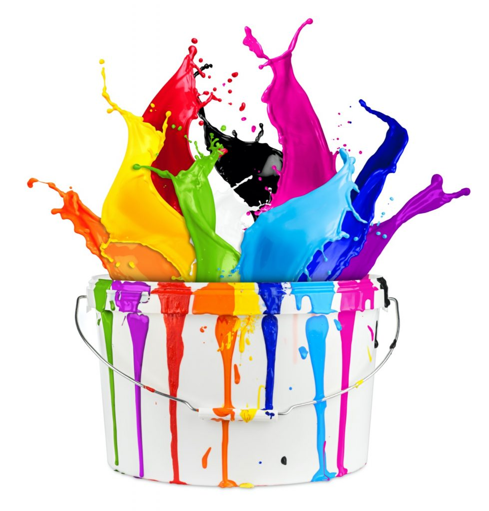 Color splash in paint bucket isolated on white background
