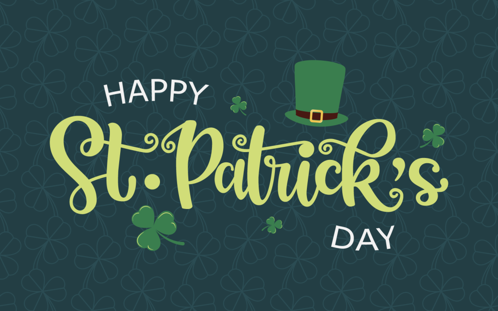 Colorful St. Patrick's Day illustration with hand sketched typography and green leprechaun hat and clovers