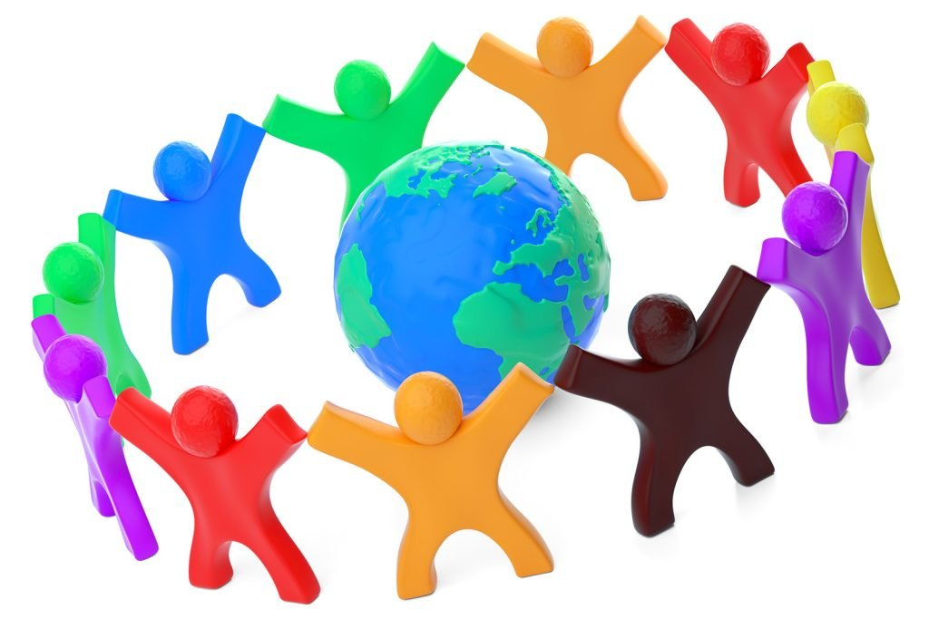 Colorful people around globe symbolizing colors in different cultures around the world
