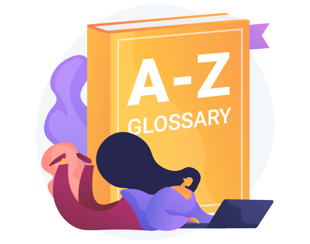 Illustration of color terminology glossary with woman searching for terms and definitions on laptop