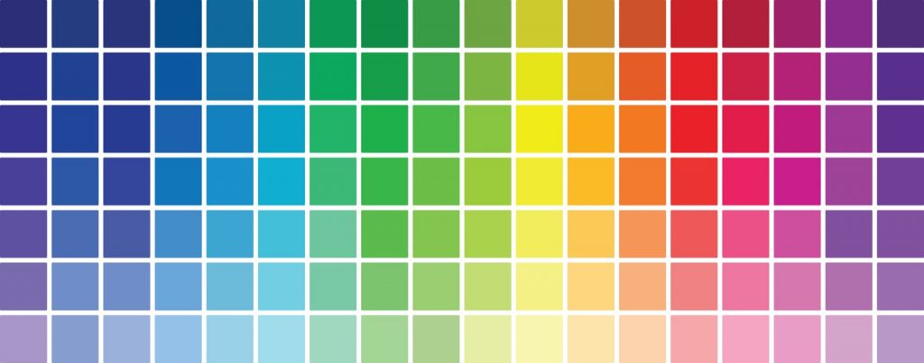Illustrating color terminology with color palette consisting of tinted and shaded hues